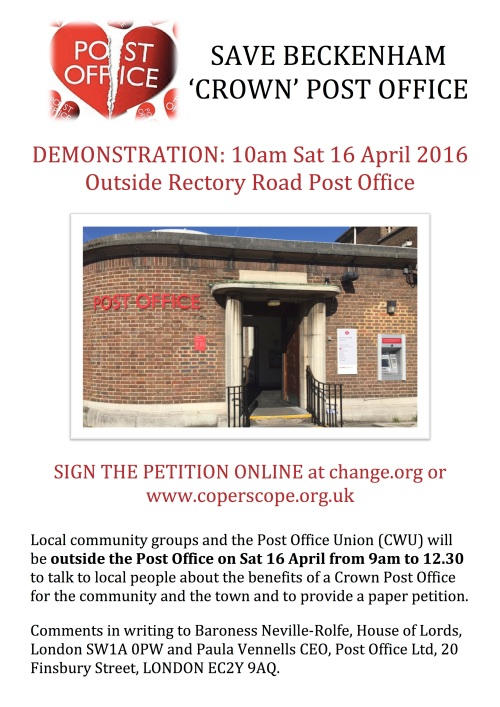 SAVE BECKENHAM 'CROWN' POST OFFICE
